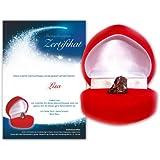 Echte Sternschnuppe in roter Herzbox - inkl. persönlichem Widmungszertifikat mit Deinem Wunschtext | das romantische Geschenk für Pärchen oder zur Taufe