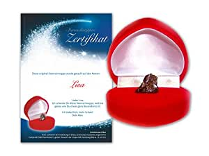 Echte Sternschnuppe in roter Herzbox – inkl. persönlichem Widmungszertifikat mit Deinem Wunschtext | als romantisches Valentinstagsgeschenk, Geburtstagsgeschenk, zur Taufe oder zum Jahrestag