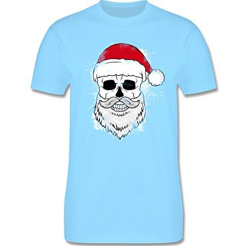 Weihnachten & Silvester - Totenkopf mit Weihnachtsmütze und Bart - Herren Premium T-Shirt Hellblau