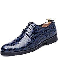 5c4f1201318 Dundun-shoes 2018 Chaussures de Sport Oxford en Cuir Verni à Motif Croco en  Crocodile épais décontracté pour Homme (Color   Bleu