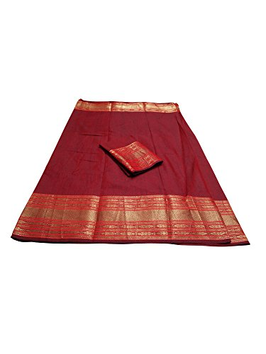 SAREE MALL Linen Silk Saree With Blouse Piece(saree LNN134_N2_Red_Free Size)