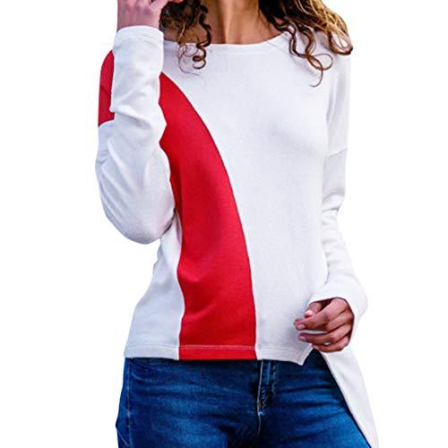 Geilisungren Bluse Damen Langarm Rundhalsausschnitt T Shirt Farbblock Patchwork Tops Frauen Mode Asymmetrischer Saum Langarmshirt Herbst...
