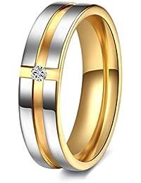 Ruvee Dual Tone Platinum Gold Band Swarovski Crystal Platinum Plated Ring for Women & Girls