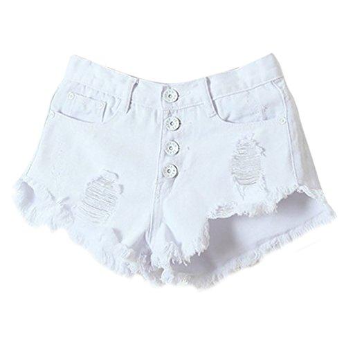 Baymate Femme Shorts Mini Cow-Boy en Denim Déchiré Trou Shorts Blanc