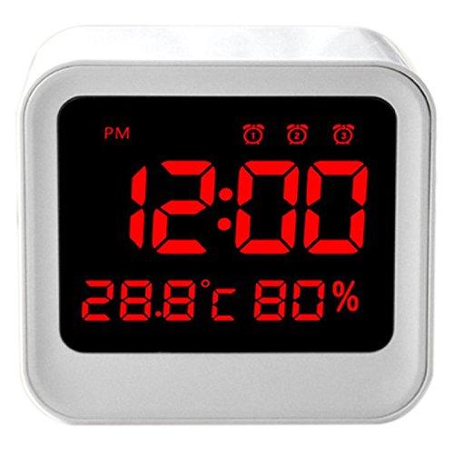 SODIAL LED-Wecker, USB-betriebene Nachttischuhr mit automatischer Helligkeitsanpassung, Temperatur-/Feuchtigkeits-Wecker, Funktion...