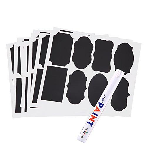 Tafel Etiketten Set Selbstklebende Label Schwarz Aufkleber mit Weiße Kreide Marker für Küche Glas Flaschen 88Pcs (Tafel-maurer-gläser)