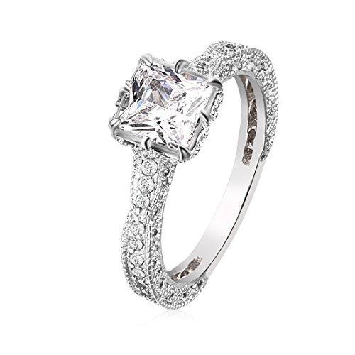 Frauen Ringe Größe 7 Diamant Für (Frauen Versilbert Simulierter Diamant Stapelbar Ring Ewigkeit Bands Größe 7)