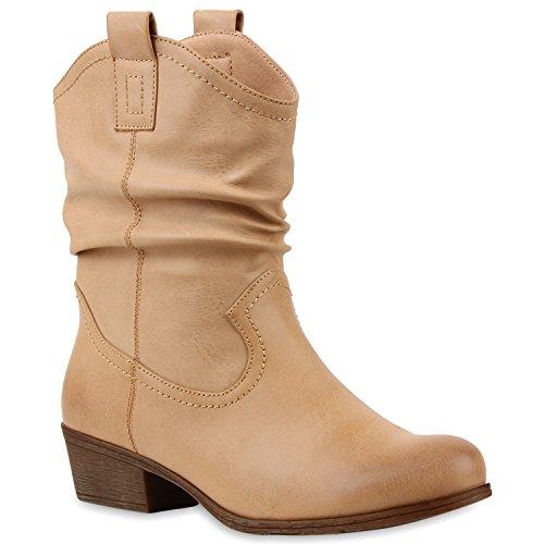 Damen Stiefeletten Cowboy Boots Holzoptikabsatz Stiefel Schlupfstiefel Blockabsatz Wildleder-Optik Schuhe 115212 Braun 38 Flandell -