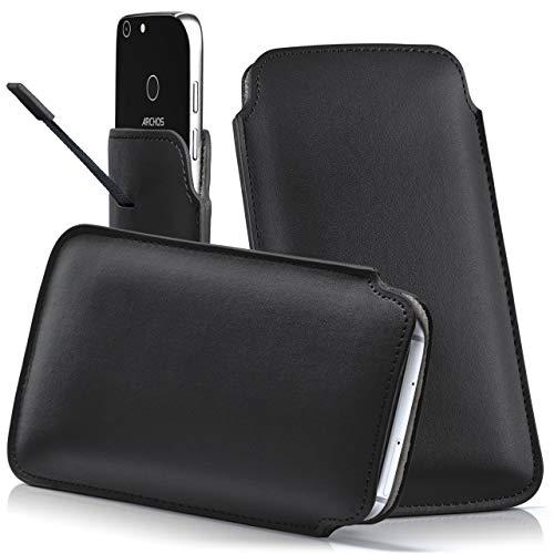 moex Archos 50 Saphir | Hülle Schwarz Sleeve Slide Cover Ultra-Slim Schutzhülle Dünn Handyhülle für Archos 50 Saphir Case Full Body Handytasche Kunst-Leder Tasche