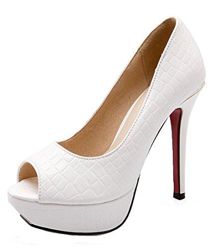 YE Damen High Heels Peep Toe Lack Pumps Plateau Stiletto 12cm Absatz Office Party Schuhe