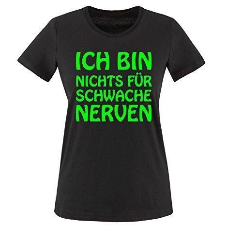 Liebe Fußball-mütter, T-shirt (Comedy Shirts - Ich bin nichts für schwache Nerven - Damen T-Shirt - Schwarz / Neongrün Gr. XXL)