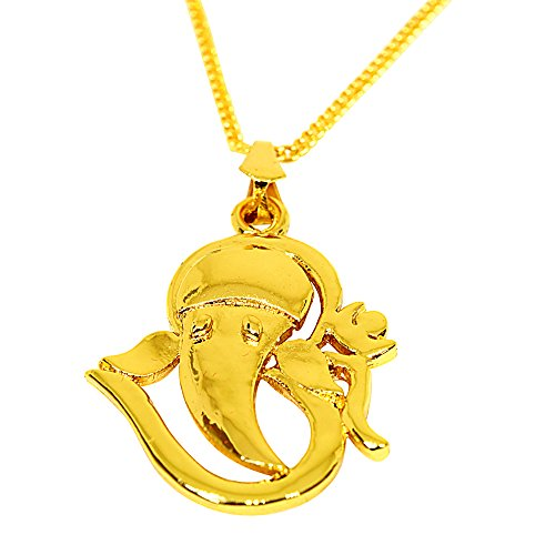 Surat Diamonds Om Ganesh Gold Plated Religious Pendant for women with Chain (SDS269)