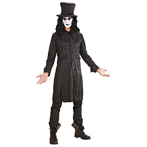 Halloween Kostüm Raven Vampir Mantel mit Hut S 48 Vampirkostüm Herren Halloweenkostüm Lord Graf Gothic Kleidung Horror Verkleidung Rabe (Der Rabe Halloween Kostüm)