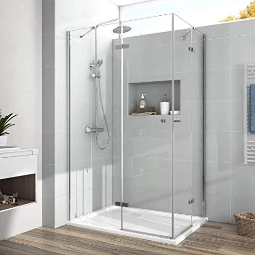 EMKE Duschkabine 100x75x185cm Eckeinstieg Duschabtrennung 6mm ESG Glas Doppel Scharniertür Duschtür Duschwand Komplett duschkabine mit Beidseitiger Nano Beschichtung