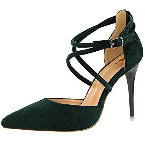 Oasap Women's Pointed Toe Cross Strap Buckle Stiletto Sandals Green