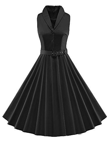 LUOUSE 'Luna' Solid Farben Vintage Serenity 50er Swing Kleid,Black,M