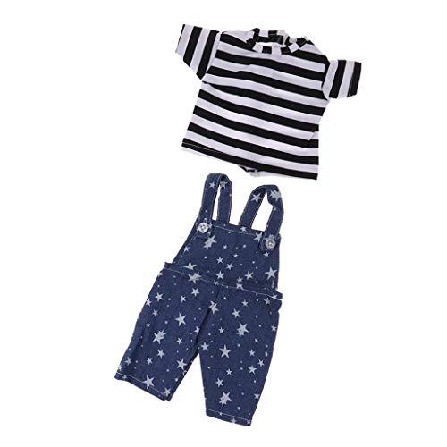 P Prettyia Modepuppe Kleidung Puppenkleid / T-Shirt & Trägerhose für 16 Zoll Sharon Puppe - # 2 (Puppe Kleidung 16 In)