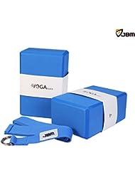 JBM Yoga Block plus Trageriemen mit Metall D-Ring Yoga Stein Kork Yoga Block 6 Farben 2er Pack – Hohe Dichte EVA Schaum Yoga Block für Unterstützung und Vertiefung von Posen, Leicht, Geruchsresistent und Feuchtigkeitsbeständig
