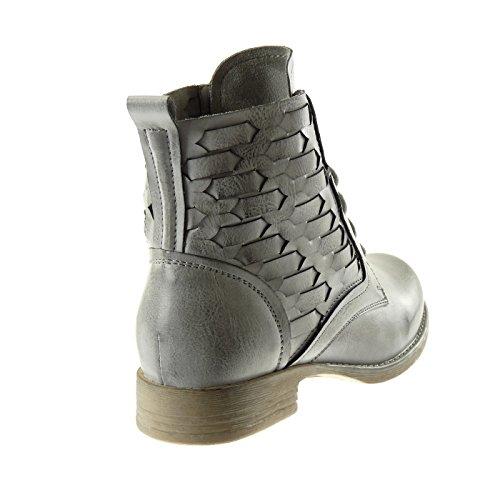 Angkorly - Chaussure Mode Bottine rangers cavalier femme lignes tréssé Talon bloc 2.5 CM Gris