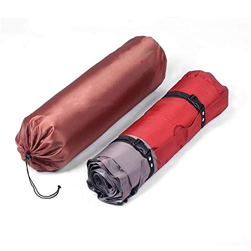 laonBonnie Thicken Self Inflating Sleeping Mat Outdoor Beach Camping Inflatable Mattress Moisture-Proof Pongee Fabric Tent Pad Cushion - Red & Grey -
