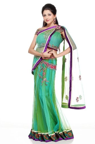 Chhabra555 Green Net One Minute Saree