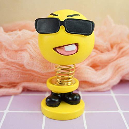 guantongda Classico Emoji Bambola, novità Carino Shaking Testa Espressione Bambola per Interni Auto Cruscotto Decorazione Bounce Giocattoli Arredo Casa - H01