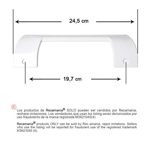 Recamania Tirador Puerta frigorifico Blanco. BALAY, Bosch, C.O. 490705. Medidas: Longitud 245mm, Anclaje 197mm.