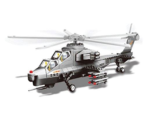 Aeromodellismo- modellino in scala 1:38 di elicottero d'attacco wz10 da montare con mattoncini.