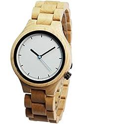NectaRoy Handmade Round White Maple Wooden Wristwatch Natural Sandal Wood Wrist Watch Japanese Quartz Movement Watch with Wooden Watch Band Bracelet Strap