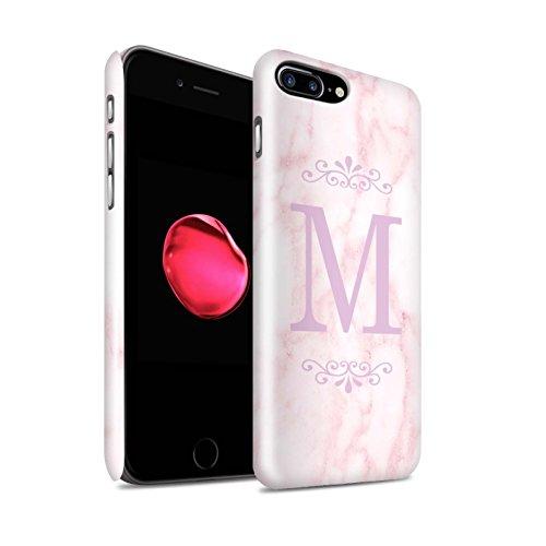 Personalisiert Rosa Marmor Mode Glanz Hülle für Apple iPhone 7 Plus / Gerahmt Silber Single Design / Initiale/Name/Text Snap-On Schutzhülle/Case/Etui Gerahmt Rosa Single