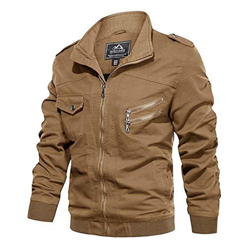 ZHANSANFM Jacke Herren Übergangsjacke Unifarben Revers Reißverschluss Jacket Wasserabweisend und Atmungsaktiv Wintermantel Freizeit Fitness Basic Winddicht Mäntel Streetwear (5XL, Khaki) -