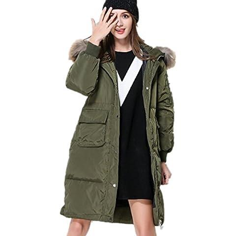 XYXY Abajo abrigo mujer con capucha de piel con un 70% por la Parka Puffer chaqueta . army green . xxxxxl