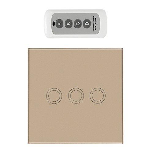Homyl 433Mhz Touch Switch Panel Funk-Schalter Taster mit Fernbedienung - Gold, 3 Gang - 3 Gang Wandhalterung