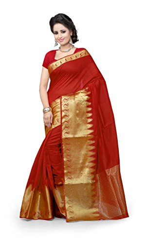 Shree Sanskruti Women's Cotton Saree (raj red keri_red)