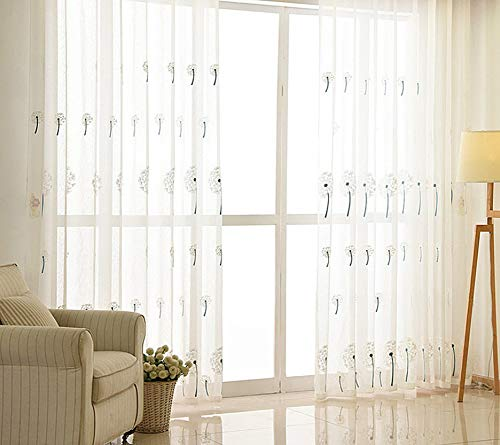 BW0057 Sheer Curtain Panel Embroidery Rod Pocket Top for Living Room Bedroom (1 Panel W 50 x L 102,inch) -