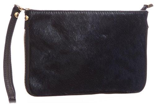 Big borsa Shop piccolo in vera pelle uomo pelliccia Con cerniera frizione borsa a tracolla (Blu)