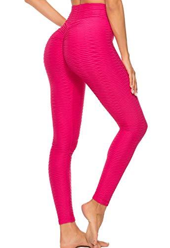 FITTOO Mallas Leggings Mujer Pantalones Deportivos Yoga Alta Cintura Elásticos y Transpirables Rojo M