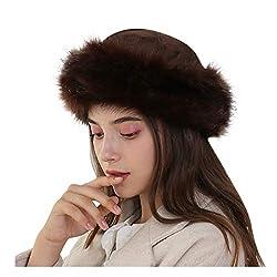 Amphia Wintermütze Damen mit Bommel Strickmütze, Frauen Winter mongolischen Hut solide Dicke warme solide Ohrenschützer Wollmütze