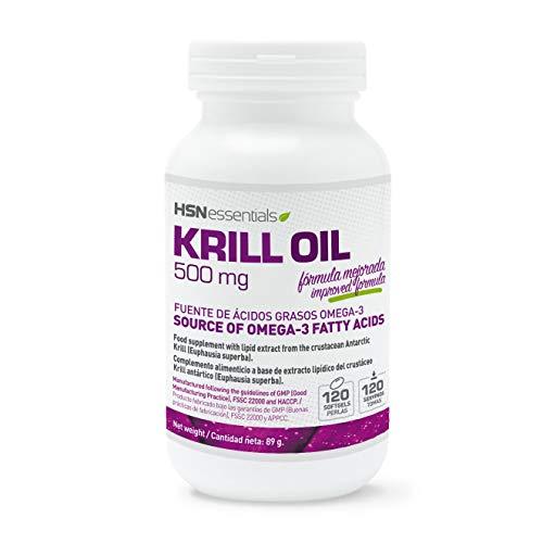 Krill Oil de HSN Essentials - Aceite de Krill 500mg - Fuente de Omega 3 con Astaxantina y Fosfolípidos -...