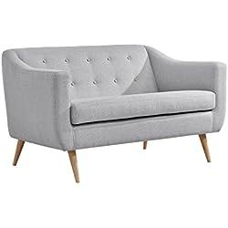 Slaap Sofá & Chaise - Sofá de dos plazas estilo nórdico.Color gris claro. Medidas 140x80x85cm.