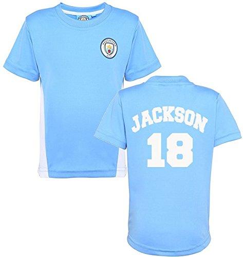 Producto oficial Manchester City FC personalizada nombre y número camiseta niños camiseta para hombre ciudad ventilador de fútbol producto oficial Club formación superior rojo rosso Talla:2-3 años