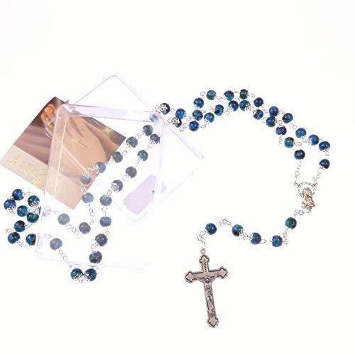 Glas Marmor-Effekt, Blau, mit Kappe, Rosenkranz Kruzifix mit INRI, katholische