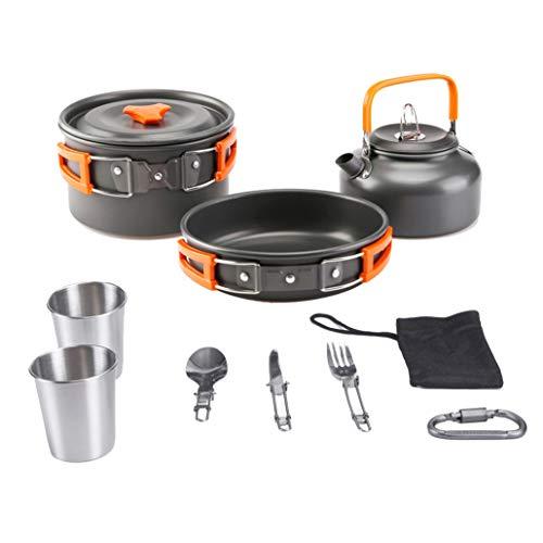 Aitsite Camping Kochgeschirr Kit Outdoor Aluminium Leichte Camping Pot Pan Kochset mit 10 Zubehör für Camping Wandern