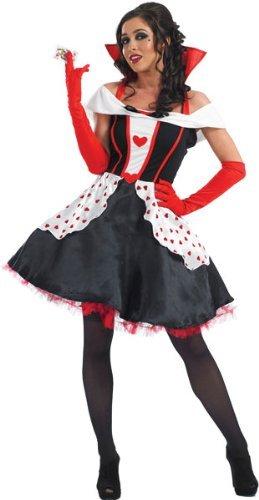 Imagen de fun shack  disfraz para mujer de la reina de corazones de alicia en el país de las maravillas 3 piezas, varias tallas, incluye vestido con enaguas, guantes hasta el codo y ligas .
