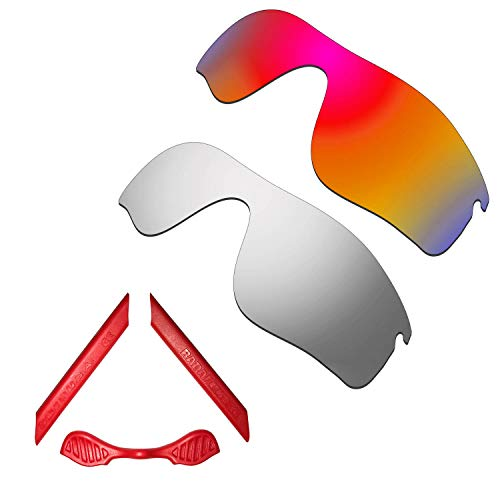 HKUCO For Oakley Radarlock Path Red/Silver Polarized Replacement Lenses And Red Earsocks Rubber Kit