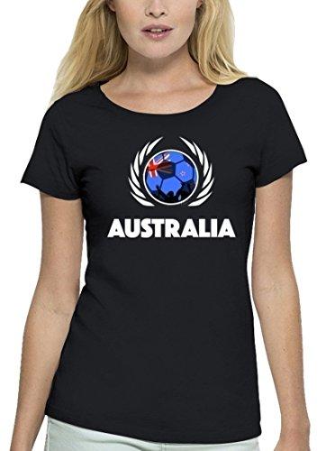 ShirtStreet Australia Fussball WM Premium Fan Damen T-Shirt Bio Baumwolle Stanley Stella Fußball Australien Black
