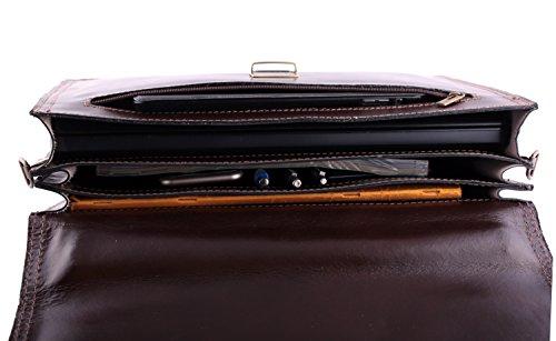 "SLINGBAG ""Moritz"" XL Aktentasche / Businesstasche / Notebooktasche / Aktenkoffer aus hochwertigem Leder / FARBAUSWAHL (Schwarz) Mahagonibraun"