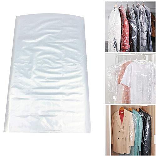 TOMMY LAMBERT 50 Stück Wasserdicht Kleidersäcke Kunststoff Kleiderschutzhülle Transparent Staubschutz, Einfach Zu Bedienen Mit Der Hand Zu öffnen, Sparen Sie Platz