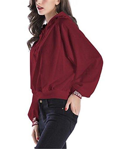 Gogofuture Loose Femme Sweats à Capuche Pull Hoodie Hauts Veste Sweatshirt Pullover Tops Décontractée University red