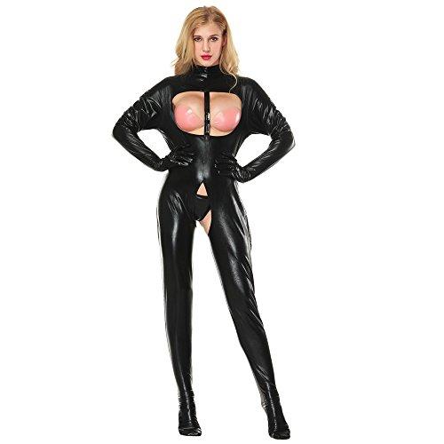 Pingtr - Damen Leder Dessous Body,Damen Einteiler Wetlook Kunstleder Bodysuit Latex Overall Jumpsuit Ärmellos Trikot Doppel Reißverschluss Ouvert-Body Clubwear -